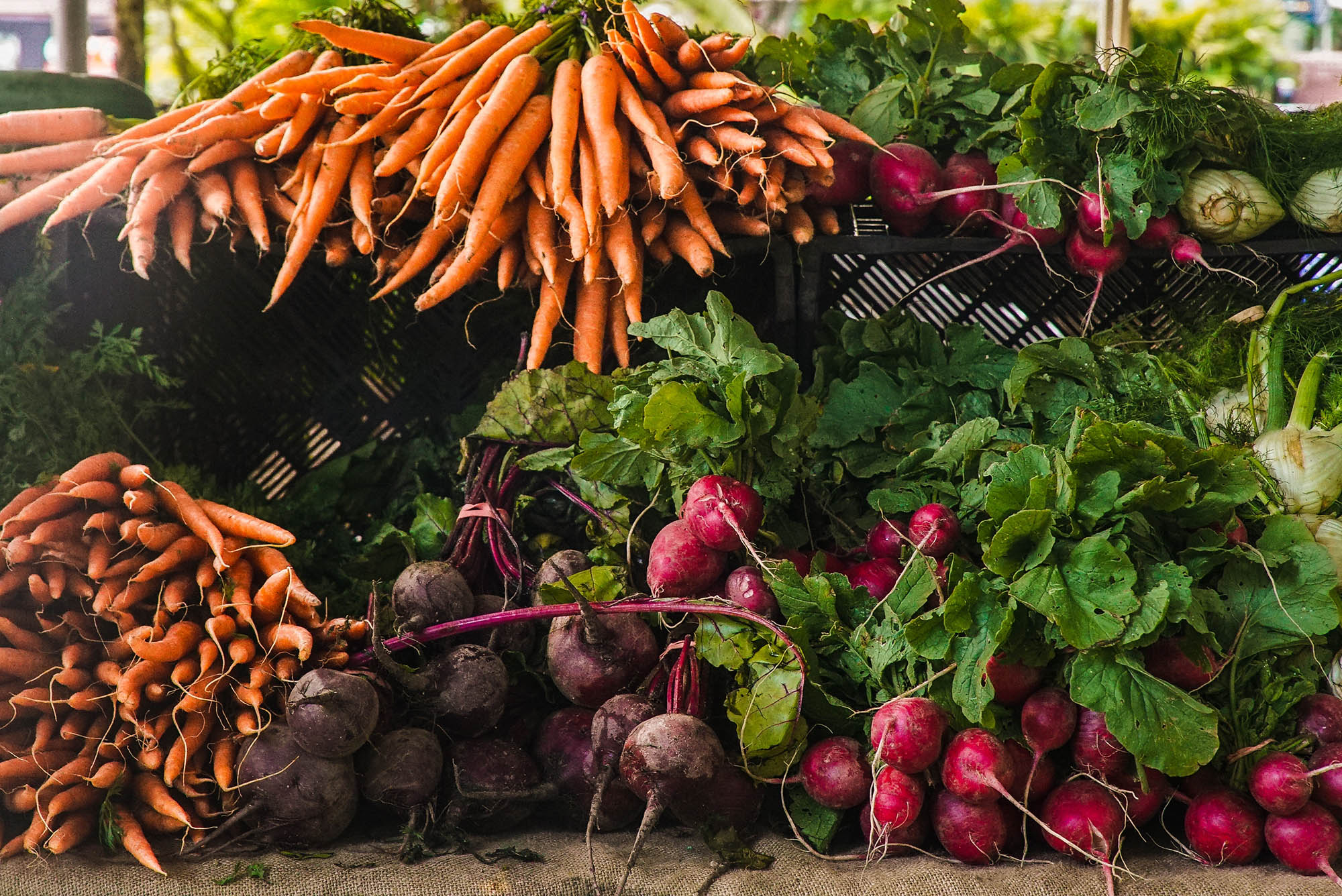 root vegetables at the market